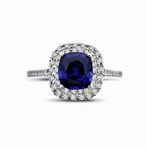 Sapphire & Diamond Double Halo Ring - 1.20ct